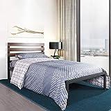 Aingoo Cadre de Lit Simple lit en Métal avec Sommier à Lattes et Tête de Lit en Bois pour Matelas 90 * 190 cm, Noir