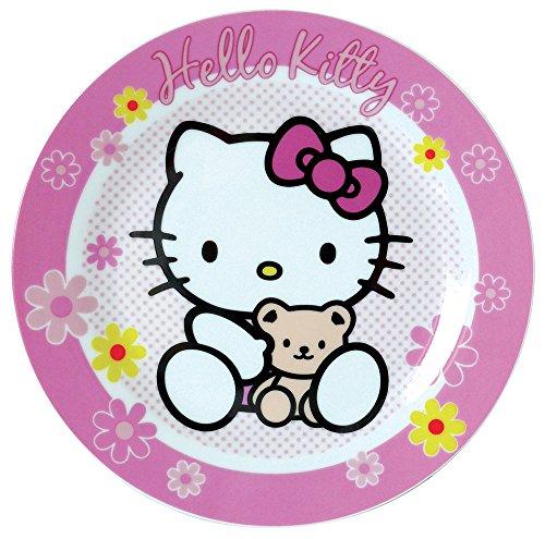FUN HOUSE 004383 Hello Kitty Assiette à Dessert pour Enfant Porcelaine Rose 19 x 19 x 1 cm