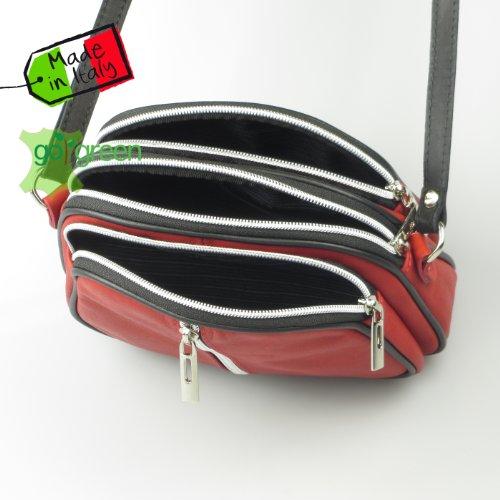Echt Leder Crossbody Umhängetasche, modisch und hochwertig, Markenprodukt aus Italien rot