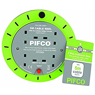 PIFCO Extension Reel Electric Wire Heavy Duty 5M, 10M and 25M Cable in 2 Way and 4 Way Socket Plug with Thermal Fuse and Re-Settable Safety Cutout-13A 230-240V (4 Way 5 Meter)