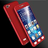 mobbysol™ 360 Degree Full Body Protection Front & Back Case Cover for OPPO NEO 7 with Tempered Glass (iPaky Style)-Red