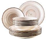 Mäser, Serie Bel Tempo, Teller-Set aus Steingut, 12-teilig für 6 Personen, Tafelservice Vintage, handbemalt, beige