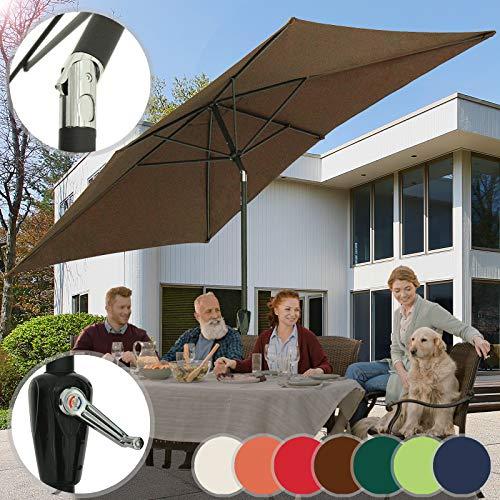 Miadomodo ombrellone da giardino | rettangolare, 3x2m, girevole, impermeabile, disponibile in 7 colori | parasole da terrazzo, balcone, esterno