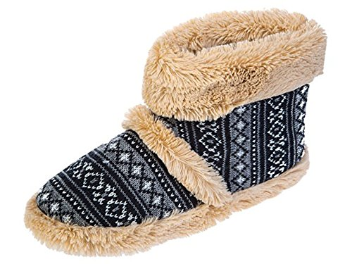 Kühler Herren Snugg warme Fairisle Print Design Slipper Boot Schwarz