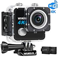 Waterproof Camera 4K 20MP Sports Action Camera WiFi 1080P HD Underwater Camera 2.0'' LCD Bike Motorcycle Helmet Camera with 2 Batteries and Accessories for Surfing Diving Swimming Skiing(L1 Black)