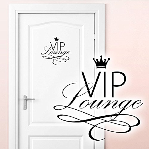 Grandora Wandtattoo VIP Lounge I schwarz (BxH) 19 x 18 cm I WC Badezimmer Toilette selbstklebend...