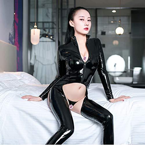 WYGH Damen Sexy Catsuit Body Nass Aussehen Glänzend Dessous Lange Ärmel Schrittlos Overall Bodysuit Party Schick Kleid Cosplay Kostüm,Black-M