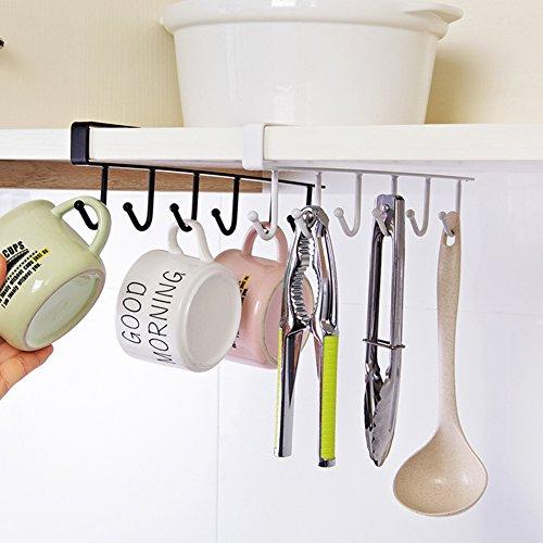 Schrank-aufhänger-halter (FAVOLOOK Küchen-Utensilien zum Aufhängen mit 6Haken, mit Aufhänger, Schrank, Organizer, Halter, Multi für Küche Badezimmer Schlafzimmer Free Size weiß)