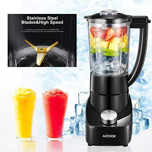 Mixer Glas Standmixer 28.000 U/min mit 700W Mixer Smoothie Maker mit 2 Geschwindigkeiten und Rostfreiem Titan Klinge, Ice Crusher, Schwarz