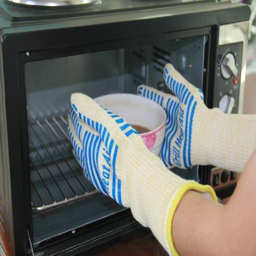 932° Ultra Extreme Hitze Grill Handschuhe für Raucher, Backofen & Outdoor Grill - Kevlar Nomex Bau (Large - Extra Large, Blau) (Grill-hitze-handschuhe)