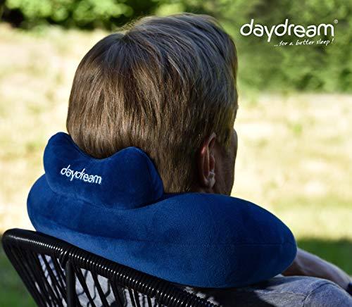 daydream: Reise Nackenkissen mit Kopfstütze aus Mikroperlen, blau (N-5061) Nackenhörnchen | Reisekissen | Nackenstützkissen | Kissen | Nackenrolle | Testsieger bei Produkttester.Community