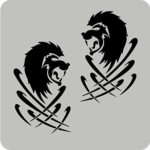 2 Löwen-Aufkleber zur Dekoration von Autos, Motorrädern, Fahrrädern und allen anderen Fahrzeugen (Löwen Auto Aufkleber)