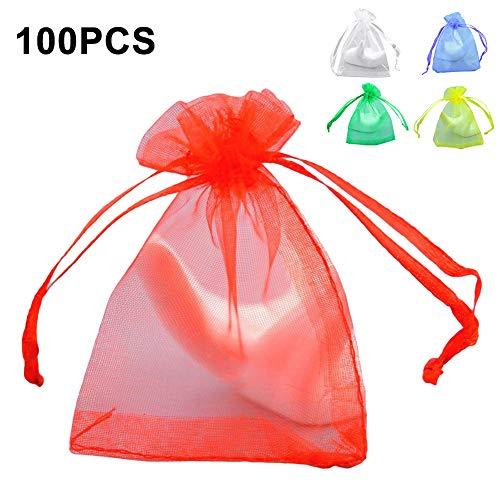 Obrid#e5on 100Pcs Mesh Drawstring Cookie Candy Taschen Snacks Gefälligkeiten Verpackungsbeutel Organizer White 15 * 20cm -