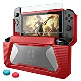 BEESCLOVER Case for Nintend Switch Rugged Rubberized Snap on TPU Hard Cover red