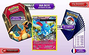 La BOX Attaque Eclair AZUMARILL holo Alf Art 104/160 100PV XY05 + 1 booster optimisé 6 cartes rares + 1 booster optimisé de 50 cartes Pokemon communes Francaises