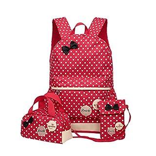 Kinder Teen Mädchen Niedliche Punkt Schule Rucksack Handtasche 3pcs(rot)