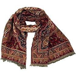 GURU-SHOP, India Paisley Pashmina Bufanda/mantón, Bufanda, Manta étnica, Rojo/negro, Sintético, Tamaño:One Size, 220x100 cm, Bufandas