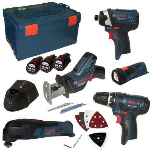 Bosch Five-Tool-Set LIMITED EDITION 10,8V inkl. GSA GOP GLI GDR GSR mit 3x 10,8V 2,0Ah Akku und Ladegerät AL1130CV in L-Boxx Gr. 3