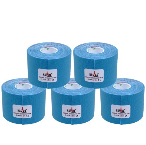 5x NASARA Kinesiologie Tape kinesiologische Tapes * in Blau * 5m x 50mm