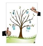 Herzl-Manufaktur Weddingtree Poster Motiv Junge Fingerabdruckbaum 30x40cm Pullerparty Taufe Geschenk (Boy)