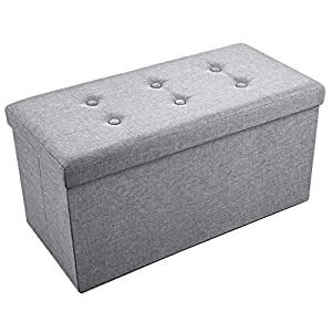 Sable Storage Ottoman Folding Bench with Highly Elastic Sponge Filling, Linen Foot Stool, Foldable Seat Bench & Footrest, Bed Bench - Gray