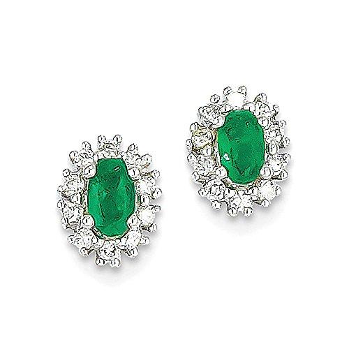 14k White Gold 1 / 5CT Diamond & Emerald Earrings - 5 Ct Orecchini Di Diamanti