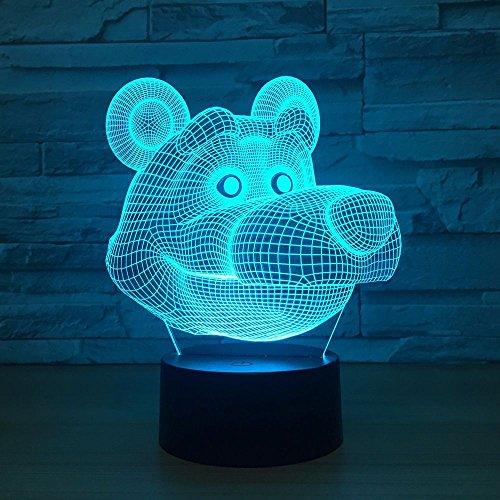 Cute 3D LED Lámpara USB Powered 7 colores Increíble ilusión óptica Remote...