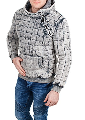 behype. Herren Kapuzen Sweatershirt Pullover Stonewashed Look, Hoody grau,Grš§e M, grau (Hoody Weed)