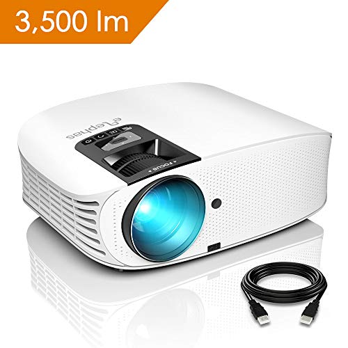 Vidéoprojecteur HD, ELEPHAS Rétroprojecteur 1080P HD 3500 Lumens Projecteur LED Supporte VGA HDMI AV USB Micro SD, Ordinateur Portable, Smartphone, Projecteur pour Séries TV Jeux Video Photos Films Match de Football, Blanc