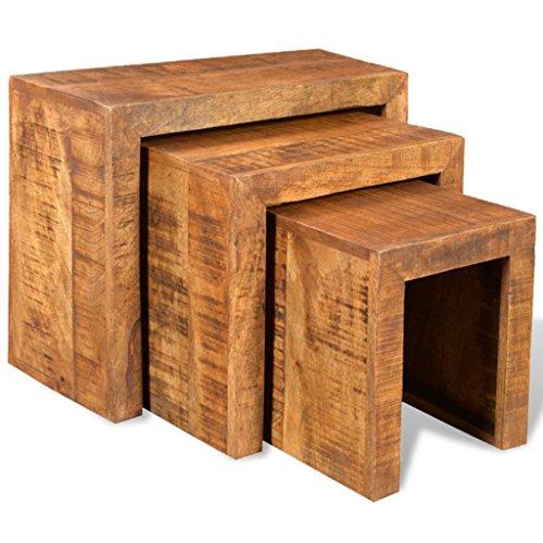 e tisch mango vidaXL 3x Beistelltisch Couchtisch Nachttisch Satztisch Set Massivholz Mango