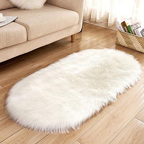 Tappeto del soggiorno ellittico, tappeti camera da letto accogliente tappeti camera dei bambini imitato lana ovale tappeto vivaio home decor per divano piano, 60 * 120 cm