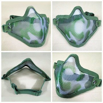 Generic Tactical Security Protect Hunting Metal Wire Half Face Mask Mesh Airsoft Mask Paintball - Jungle