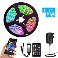 LED Strip Lights, WiFi Wireless Smart Phone Controlled Light Strip LED Kit 5m 5050 LED Lights,Working with Android and iOS System,Alexa, Google Assistant