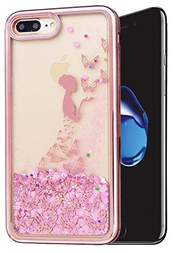 Iphone 7 Plus Coque Silicone, Iphone 7 Plus Accessoire, Coque Iphone 7 Plus silicone, Nnopbeclik® (5.5 Pouce) Colorful Paillettes Briller Style Backcover Doux Soft Dégradé de Couleur Housse Antichoc P papillon+fille