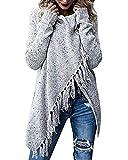 Femme Pullover Automne Hiver Boheme Houppe Poncho Mode Chic Fashion Unicolore Large Loisir Fashion Vintage Manches Longues Tricot Pullover (Color : Grau, Size : M)