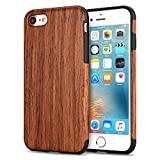 TENDLIN Coque iPhone 7/Coque iPhone 8 Bois et Flexible TPU Silicone Hybrid Slim Housse Etui pour iPhone 7 et iPhone 8 (Bois de Santal Rouge)