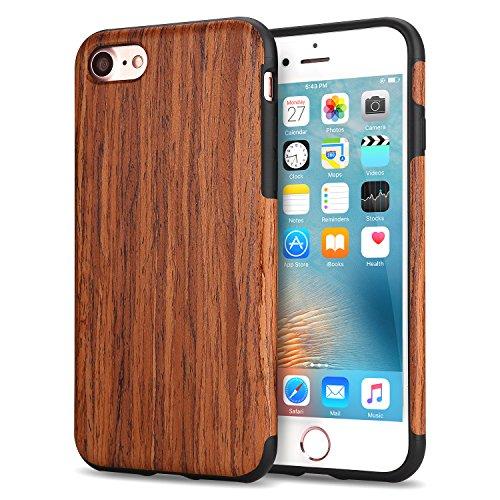 TENDLIN iPhone 7 Hülle / iPhone 8 Hülle mit Holz und Flexiblem TPU Silikon Weiche Schutzhülle für iPhone 7 und iPhone 8 (Rotes Sandelholz)