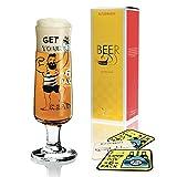 Ritzenhoff Beer Design Bierglas mit Bierdeckeln, Trinkglas, Dominika Przybylska, Kristallglas, 300 ml, 3220032