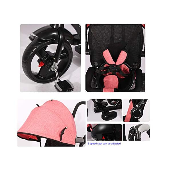 BGHKFF 4 In 1 Children's Hand Push Tricycle 1 To 6 Years 360° Swivelling Saddle 5-Point Safety Belt Children's Pedal Tricycle Adjustable Handle Bar Childrens Tricycles Maximum Weight 25 Kg,Red  ★Material: High carbon steel frame, suitable for children aged 1-6, maximum weight 25 kg ★ 4 in 1 multi-function: can be converted into a stroller and a tricycle. Remove the hand putter and awning, and the guardrail as a tricycle. ★Safety design: Golden triangle structure, safe and stable; front wheel clutch, will not hit the baby's foot; 5-point seat belt + guardrail; rear wheel double brake 9