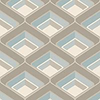 Grandeco - Geo In Teal - Geometric 3D Effect - Retro Textured Wallpaper A16002 from belgium