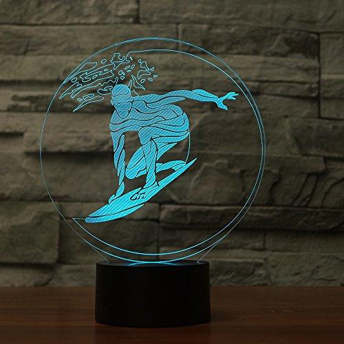 Neuheit 3D Surfen Nachtlicht 7 Farbwechsel USB 3D Tischlampe Fernbedienung beleuchtung Startseite Nachtlicht für Kind Geschenk