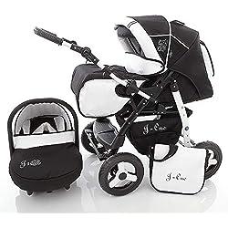 Poussette SaintBaby JAG-CAT 2en1 3en1 3in1 Ensemble tout-en-un poussette siège Auto bébé Combi Buggy noir & blanc 3en1 avec siège bébé