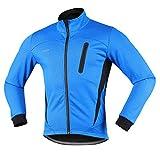 Arsuxeo 16H Hombres Invierno Térmico Vellón Ciclismo Chaqueta MTB Bicicleta Abrigo Cycling Thermal Fleece Jacket (CN:XL/US: L, Azul)