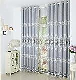 2er-Set Europäische luxuriöse Vorhänge Gestickt Blumen Vorhänge für Schlafzimmer Wohnzimmer(245*140cm,Grau)