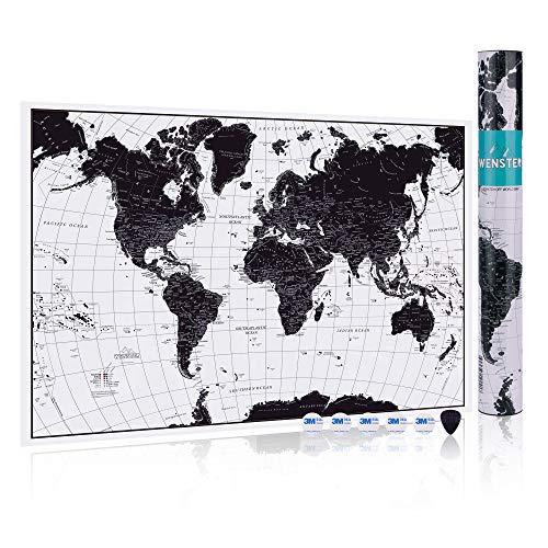 WENSTER - Póster mapa mundo rascar | Globo lujo personalizado