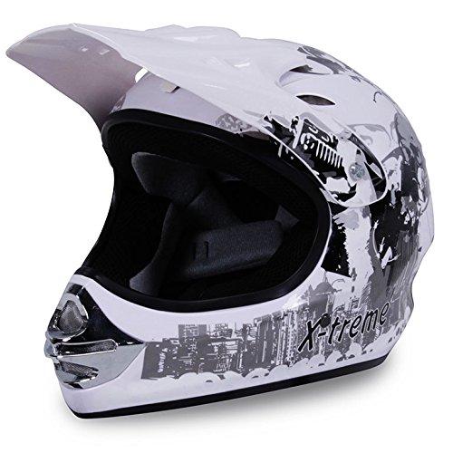 Motorradhelm X-treme Kinder Cross Helme Sturzhelm Schutzhelm Helm für Motorrad Kinderquad und Crossbike in weiß (XXL)