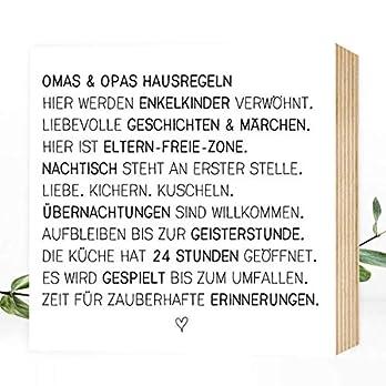 Wunderpixel® Holzbild Oma & Opa – liebe Hausregeln – 15x15x2cm zum Hinstellen/Aufhängen, echter Fotodruck mit Spruch auf Holz – schwarz-weißes Wand-Bild Aufsteller Zuhause Dekoration oder Geschenk
