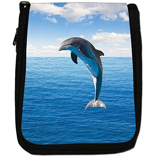 Delfini Medium Nero Borsa In Tela, taglia M Dolphin Jumping At Sea