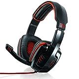 CSL - 7.1 USB Cascos para Juegos con Tarjeta de Sonido - Edición Gaming Plus USB - Almohadillas para los oídos de Cuero sintético Inserto de Malla - Regulador de Volumen - Negro Rojo