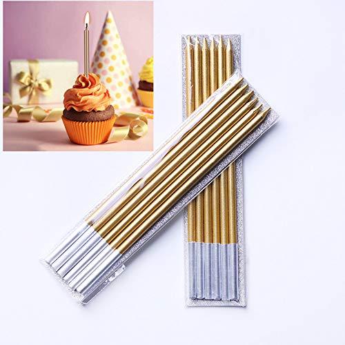 Geburtstag Kuchen Kerzen,36 Stück Lange Geburtstagskerzen Dünne Kerze für Geburtstag Hochzeit Baby Shower Party Kuchen Dekorationen Gold